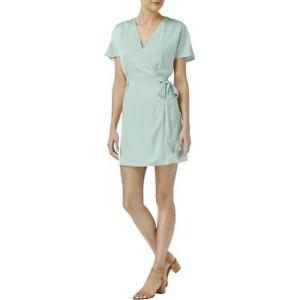 Bar III Womens Blue Satin Faux-Wrap Short Sleeves Cocktail Dress L BHFO 3556