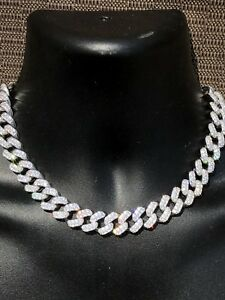 "Solid 925 Sterling Silver 15mm Miami Cuban Chain 18"" 20"" Choker 80ct Lab Diamond"