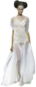 Alexander McQueen 2007 Runway Ivory Floral Embroidered Mermaid Gown IT40