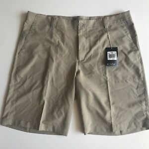 Mens NWT Nike flat front standard dry fit beige golf shorts size 38