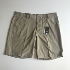 Mens Nike NWT flat front beige standard dry fit golf shorts size 40