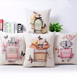 Decorative pillow cover case Perfume bottles cotton seat waist cushion cover $4.39