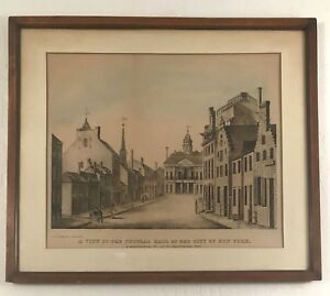 Antique New York City lithograph quot;A View from Federal Hall. $125.00