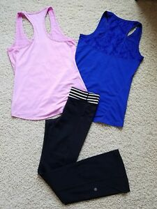 Lot of 3 Womens XSGirls L Athleta Yoga Athletic Top Sport ShirtsPants EUC