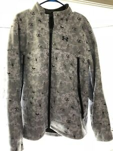 RARE Under Armour Men's Fleece Jacket Arctic Digital Camo White XL Winter