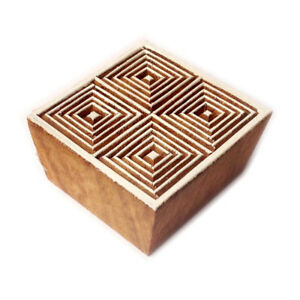 Creative Square Geometric Motif Wood Block Art Texile Stamp Pottery Stamp $8.99