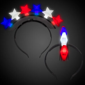 Light Up Flashing Red White And Blue Star Headband - Great for the 4th Of July