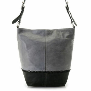 Firenze Bella Lucia Leather Color Block Bucket Bag w2 Removable Straps in Black