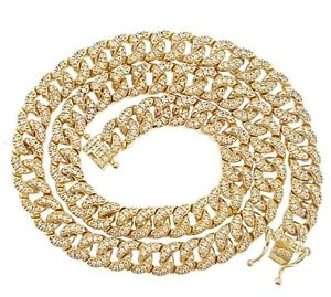 Lab Stimulate Diamond ICED OUT Cuban Link Micro pave Miami Choker Necklace chain