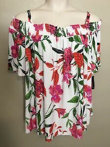 INC Women's NEW White Tropical Off-The-Shoulder Peasant Top Plus Sizes 1X2X3X