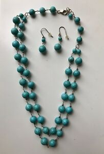 Sterling Turquoise Necklace And Earrings Costume Set