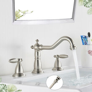 Widespread Oil Rubbed Bronze Bathroom Faucet 2 Handle Basin Spout Sink Mixer Tap