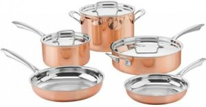 8 Piece Tri Ply Cookware Set Aluminum Stainless Steel KItchen Pan Skillet Cover