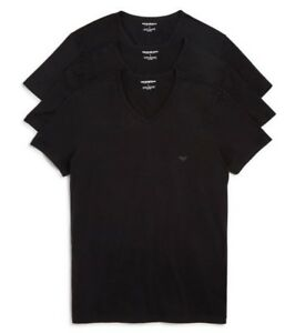 Emporio Armani 3-Pack Men's Pure Cotton V-Neck T-Shirts Black