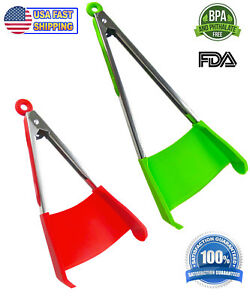 2 in 1 Spatula Tongs Non stick Heat Resistant Kitchen BBQ Silicone Cooking Tool