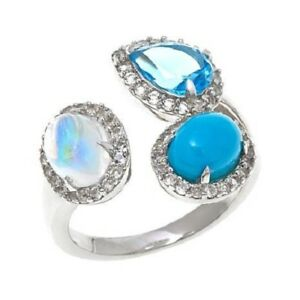 HSN Colleen Lopez Blue Moonstone Turquoise and Gemstone Sterling Silver Ring