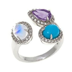 Colleen Lopez Blue Moonstone Turquoise and Gemstone Sterling Silver Ring Size 9
