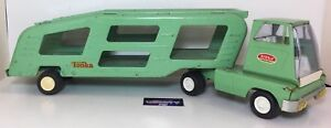 Tonka Car Hauler Vintage Steel Metal Toy Old Construction Truck Green 18 12 In