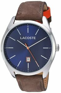 *BRAND NEW* Lacoste Men's Brown Leather Strap Bracelet Blue Dial 2010910