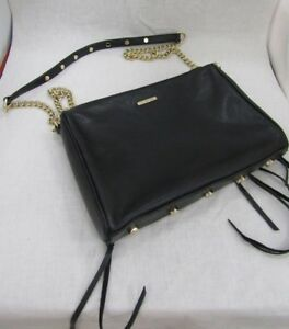 Rebecca Minkoff Black Leather Shoulder Bag Gold Chain Strap Purse