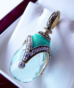 SALE ! AMAZING RUSSIAN EGG PENDANT HANDMADE OF STERLING SILVER 925 w AQUAMARINE