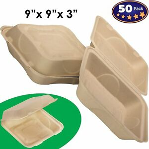 Biodegradable 9x9 Take Out Food Containers with Clamshell Hinged Lid 50 Pack...