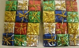 24 Miniature Foil Christmas Packages Ornaments 1.25quot; x 1.25quot; crafting decor $3.99