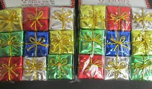 18 Miniature Foil Christmas Packages Ornaments 1.5quot; x 1.5quot; crafting decor $3.99