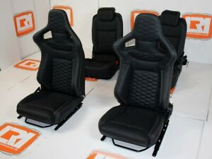LRI black leather HEX stitch 4 seat interior fit Land Rover Defender 90 TDCI