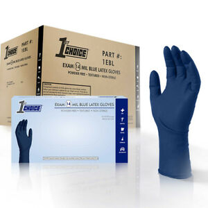 1st Choice Blue 14-Mil Thick Latex Disposable Gloves 500ct - Powder Free Exam