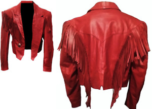 Red Women Western Wear Girls Cowhide Leather Jacket Cowgirl Style Fringed Jacket