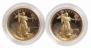 Lot of 2 - 12oz Proof Gold Eagle - Capsules Only (Random Date)