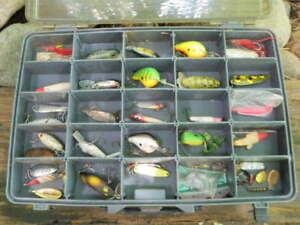 Vintage Plano Over & Under Tackle Box Full of Old & New Fishing Lures  Fc