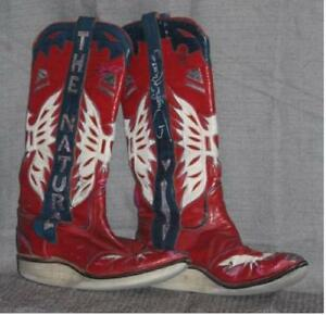 Dustin Rhodes Ring Worn Western Style Wrestling Boots Vintage Eagle Design Boots