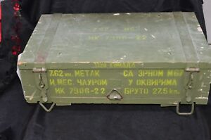 Vintage Military fingerjointed Wooden Ammo Box Russian 7.62mm M5966AM70M72