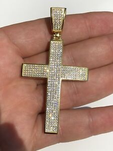 Men's REAL 14k Yellow Gold Over Solid 925 Silver Large Cross 3ct Diamond 2x1.5""