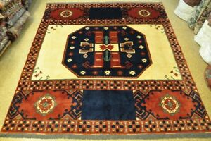 Kazak Hand-Knotted Rug 9x10 Ivory Tribal Afghan Unique Centerpiece Rug