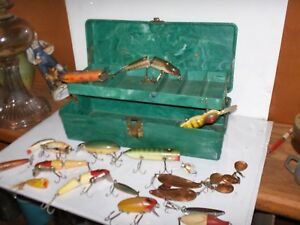 Antique fishing lures nice lot old wooden glass eyes some metal lures