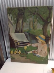 Antique Canvas Painting Young Girl Chickens Farm Country $199.95