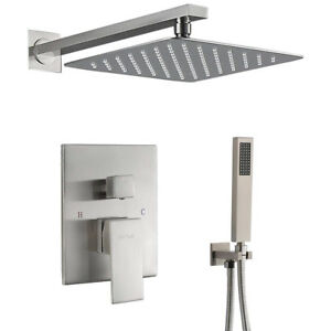 Shower Faucet System Set Brushed Nickel 12 inch Rainfall Shower Head Mixer Tap