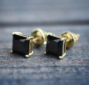 2Ct Princess Cut Black Diamond Solitaire Stud Earrings 14K Yellow Gold Finish