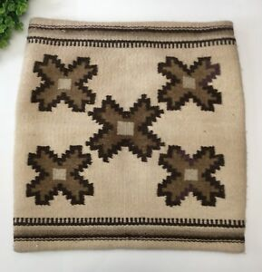 Vintage Woven Wool Turkish Kilim Throw Pillow Cover Hand Tan Brown Purple Boho