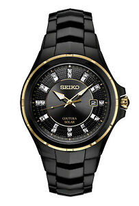 New Seiko Solar Coutura Diamond Black PVD Steel Bracelet Men's Watch SNE506
