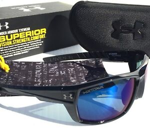 NEW* Under Armour RANGER in Black w POLARIZED Blue Iridium lens Sunglass