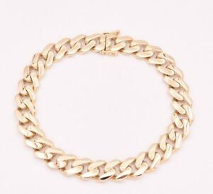 9mm Mens Miami Cuban Royal Link Bracelet Box Clasp Real 10K Yellow Gold 8