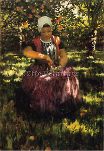 HITCHCOCK GEORGE IN THE ORCHARD ARTIST PAINTING REPRODUCTION HANDMADE OIL CANVAS