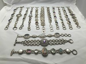 Lot of 18 ITALIAN HEAVY DESIGN 925. Sterling Silver Gemstone Druzy Bracelets
