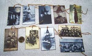 10~Halloween~Vintage~Witch~Wicca~Samhain~FussyCut~Linen Cardstock~Gift~Hang~Tags
