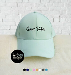 Good Vibes Embroidered Baseball Caps Dad Baseball Hat Cotton Unisex Size