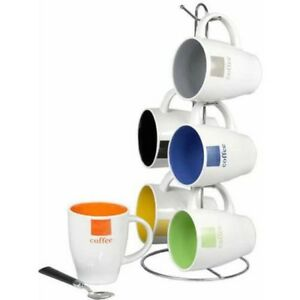 Mug Set with Coffee Tree Stand Home Basics Multi-Color  Set of 6